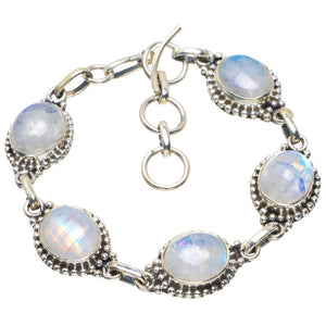 "Natural Rainbow Moonstone Handmade Unique 925 Sterling Silver Bracelet 6-7"" B4227"