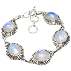 "Natural Rainbow Moonstone Handmade Unique 925 Sterling Silver Bracelet 6.5-7.75"" B4228"