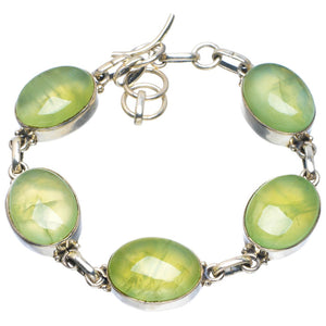 "Natural Prehnite Handmade Unique 925 Sterling Silver Bracelet 6.5-7.5"" B4229"