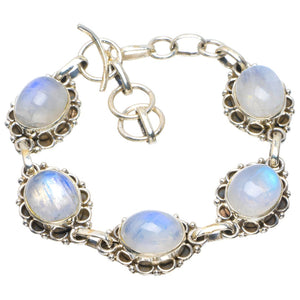 "Natural Rainbow Moonstone Handmade Unique 925 Sterling Silver Bracelet 6-7"" B4233"