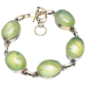 "Natural Prehnite Handmade Unique 925 Sterling Silver Bracelet 6.5-7.5"" B4234"