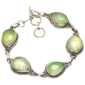 "Natural Prehnite Handmade Unique 925 Sterling Silver Bracelet 6.5-7.5"" B4238"