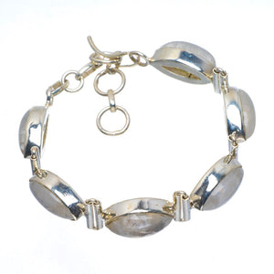"Natural Rainbow Moonstone Handmade Unique 925 Sterling Silver Bracelet 6-7.5"" B4239"