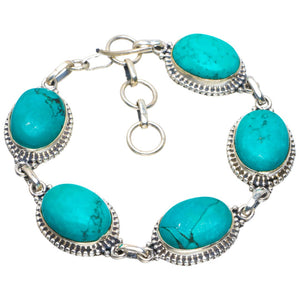 "Natural Turquoise Handmade Unique 925 Sterling Silver Bracelet 7-8"" B4240"