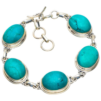 Natural Turquoise Handmade Unique 925 Sterling Silver Bracelet 7-8