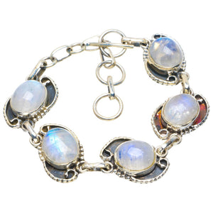 "Natural Rainbow Moonstone Handmade Unique 925 Sterling Silver Bracelet 6-7"" B4245"