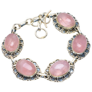 "Natural Rose Quartz Handmade Unique 925 Sterling Silver Bracelet 6.5-7.5"" B4247"