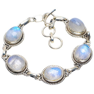 "Natural Rainbow Moonstone Handmade Unique 925 Sterling Silver Bracelet 6-7"" B4248"