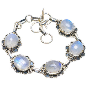 "Natural Rainbow Moonstone Handmade Unique 925 Sterling Silver Bracelet 6-7"" B4249"