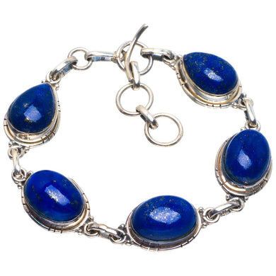 Natural Lapis Lazuli Handmade Unique 925 Sterling Silver Bracelet 6.5-7.5