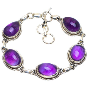 "Natural Amethyst Handmade Unique 925 Sterling Silver Bracelet 6.5-7.75"" B4253"