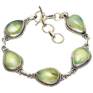 "Natural Prehnite Handmade Unique 925 Sterling Silver Bracelet 6.75-7.75"" B4256"