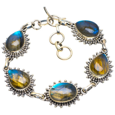 Natural Blue Fire Labradorite Handmade Unique 925 Sterling Silver Bracelet 6.75-7.75