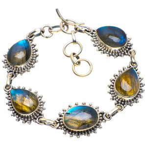 "Natural Blue Fire Labradorite Handmade Unique 925 Sterling Silver Bracelet 6.75-7.75"" B4257"