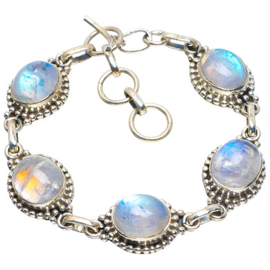 Natural Rainbow Moonstone Handmade Unique 925 Sterling Silver Bracelet 6.25-7.25