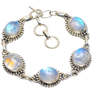 "Natural Rainbow Moonstone Handmade Unique 925 Sterling Silver Bracelet 6.25-7.25"" B4258"