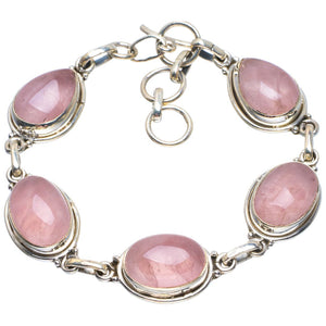 "Natural Rose Quartz Handmade Unique 925 Sterling Silver Bracelet 6.5-7.5"" B4259"