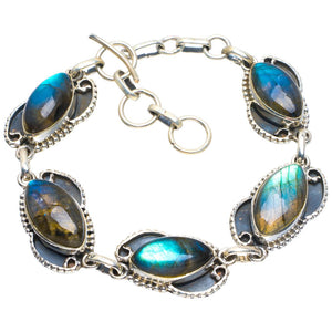 "Natural Blue Fire Labradorite Handmade Unique 925 Sterling Silver Bracelet 7-8"" B4260"