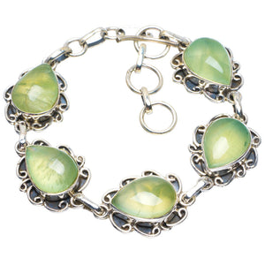 "Natural Prehnite Handmade Unique 925 Sterling Silver Bracelet 6.5-7.5"" B4261"