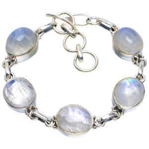 "Natural Rainbow Moonstone Handmade Unique 925 Sterling Silver Bracelet 6-7"" B4262"