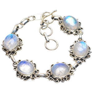"Natural Rainbow Moonstone Handmade Unique 925 Sterling Silver Bracelet 6-7"" B4264"