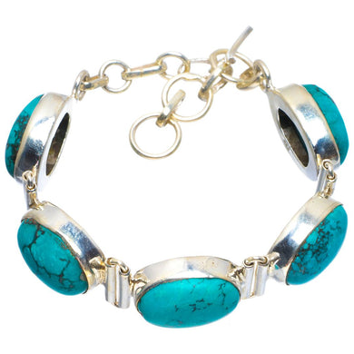 Natural Turquoise Handmade Unique 925 Sterling Silver Bracelet 6-7