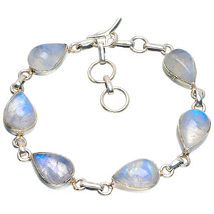 "Natural Rainbow Moonstone Handmade Unique 925 Sterling Silver Bracelet 6.75-8"" B4274"
