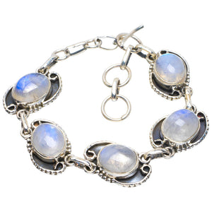 "Natural Rainbow Moonstone Handmade Unique 925 Sterling Silver Bracelet 6-7"" B4279"