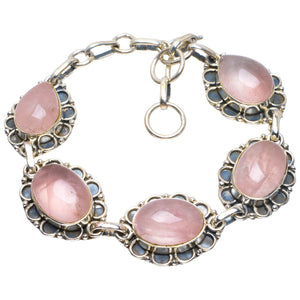 "Natural Rose Quartz Handmade Unique 925 Sterling Silver Bracelet 6.5-7.5"" B4280"