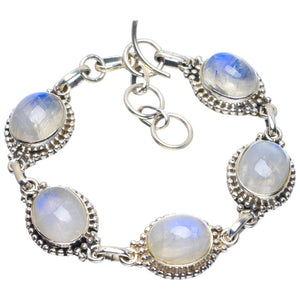 "Natural Rainbow Moonstone Handmade Unique 925 Sterling Silver Bracelet 6.25-7.25"" B4281"