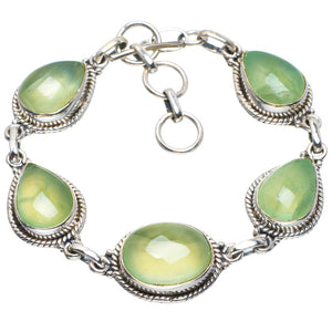 "Natural Prehnite Handmade Unique 925 Sterling Silver Bracelet 6.75-7.5"" B4282"