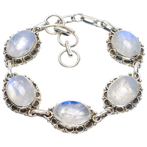 "Natural Rainbow Moonstone Handmade Unique 925 Sterling Silver Bracelet 6.5-7.5"" B4285"