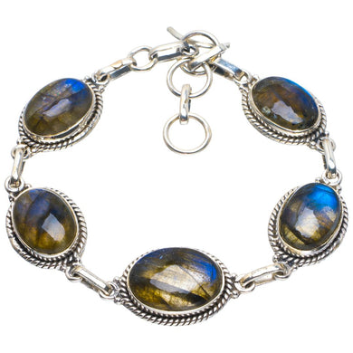 Natural Blue Fire Labradorite Handmade Unique 925 Sterling Silver Bracelet 6.75-8