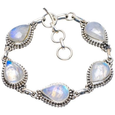 Natural Rainbow Moonstone Handmade Unique 925 Sterling Silver Bracelet 6.75-7.75
