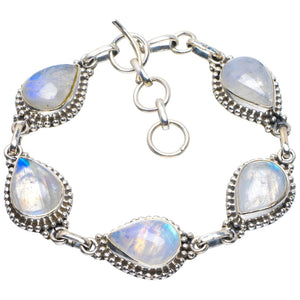 "Natural Rainbow Moonstone Handmade Unique 925 Sterling Silver Bracelet 6.75-7.75"" B4287"
