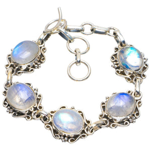 "Natural Rainbow Moonstone Handmade Unique 925 Sterling Silver Bracelet 6-7"" B4289"