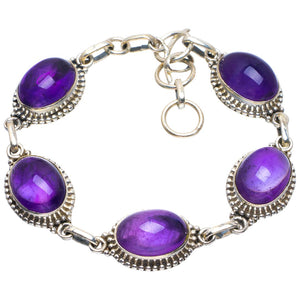 "Natural Amethyst Handmade Unique 925 Sterling Silver Bracelet 6.75-7.5"" B4290"