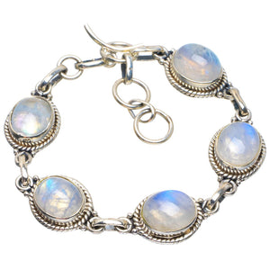 "Natural Rainbow Moonstone Handmade Unique 925 Sterling Silver Bracelet 6-7"" B4292"