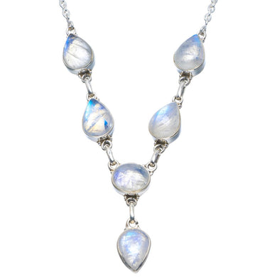 Natural Rainbow Moonstone Handmade Unique 925 Sterling Silver Necklace 18-18.25