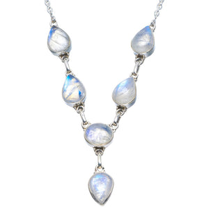 "Natural Rainbow Moonstone Handmade Unique 925 Sterling Silver Necklace 18-18.25"" B4296"