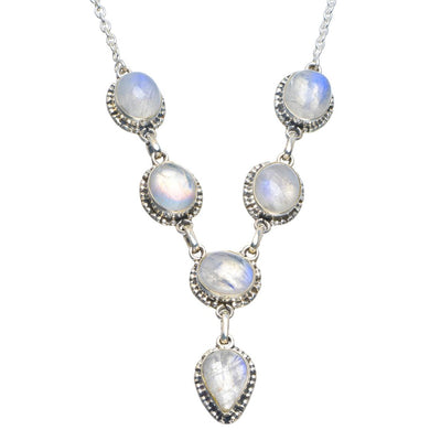 Natural Rainbow Moonstone Handmade Unique 925 Sterling Silver Necklace 17-17.5