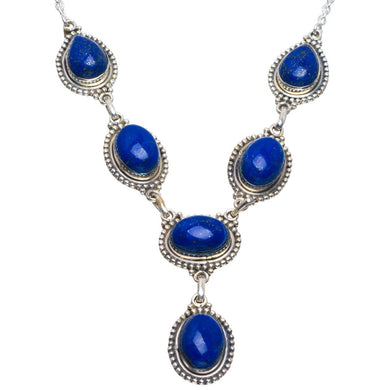 Natural Lapis Lazuli Handmade Unique 925 Sterling Silver Necklace 18.5-19