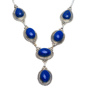 "Natural Lapis Lazuli Handmade Unique 925 Sterling Silver Necklace 18.5-19"" B4303"