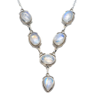 "Natural Rainbow Moonstone Handmade Unique 925 Sterling Silver Necklace 18-18.5"" B4304"