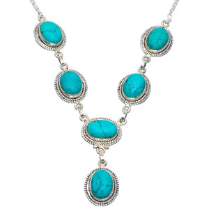 "Natural Turquoise Handmade Unique 925 Sterling Silver Necklace 18.75-19.25"" B4311"