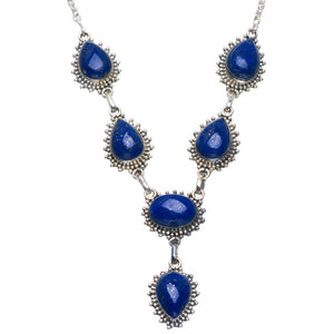 "Natural Lapis Lazuli Handmade Unique 925 Sterling Silver Necklace 18-18.5"" B4313"