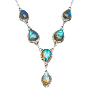 "Natural Blue Fire Labradorite Handmade Unique 925 Sterling Silver Necklace 18-18.5"" B4316"