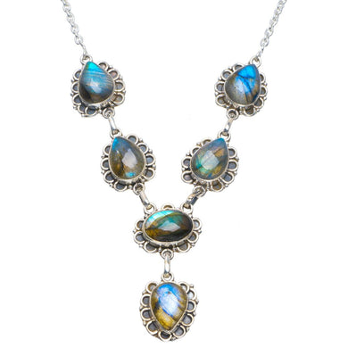 Natural Blue Fire Labradorite Handmade Unique 925 Sterling Silver Necklace 17.5-18