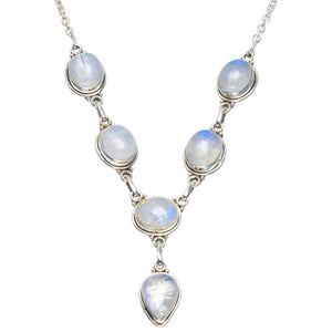 "Natural Rainbow Moonstone Handmade Unique 925 Sterling Silver Necklace 17.5-18"" B4318"
