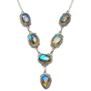 "Natural Blue Fire Labradorite Handmade Unique 925 Sterling Silver Necklace 18-18.5"" B4320"
